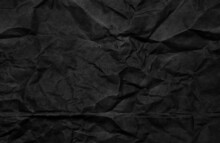 Crumpled Black Paper For Background Usage