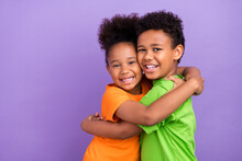 Profile Side Photo Of Two Young Little Afro Kids Happy Positive Smile Hug Cuddle Isolated Over Violet Color Background