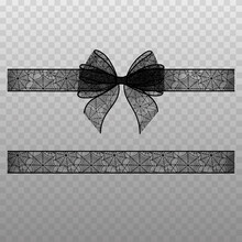 Black Transparent Bow With Ribbon. Halloween Bow And Ribbon With Spiderweb Lace