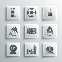 Set Big Ben Tower, British Crown, Police Helmet, Flag Of Great Britain, Location England, Sherlock Holmes, Golf Bag With Clubs And Cup Tea Tea Icon. Vector
