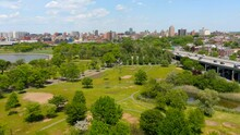 Aerial View Of An Open Field At Flushing Meadows - Corona Park