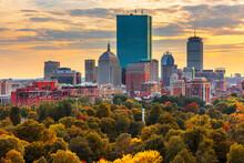 Boston, Massachusetts, USA Skyline Over Boston Common