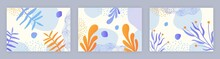 Abstract Artistic Template. Graphic Element For Websites. Set Of Images With Marine Life. Templates For Printing On Clothes. Undersea Floral World. Flat Cartoon Set Isolated On Grey Background