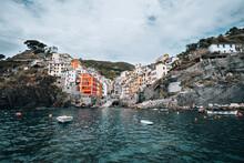 Wide Angle Shot Of Riomaggiore's Harbor Famous Italian Coastal Village