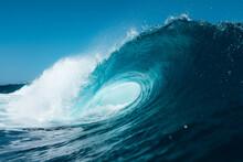 Blue Wave Breaking On A Beach In Tenerife