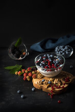 Chia Pudding With Nuts And Berries: Blueberries, Currants And Bl