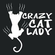 Crazy Cat Lady Curvy Vintage Sport Vector Design Illustration Print Wall Art Poster Canvas