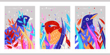 Creative Rainbow Aesthetic Vintage Posters. A4 Vertical Illustrations. A Set Of Three Minimalistic Abstract Backgrounds With Plants, Wild Birds, Dots, Flowers. A Colorful Picture For The Nursery.