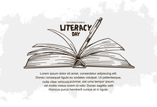 International Literacy Day With Open Book And Pen Isolated On White Background Can Be Use For Background, Poster And Banner