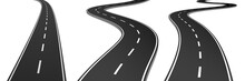 Realistic Vector 3d Set Of Curved Roads And Highways. Vector Graphic.