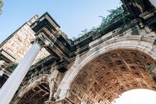 Antalya, Turkey - July, 2021: Close Up Of Triumphal Arch In Old Town Kaleici District In Antalya, Turkey. Hadrian's Gate. Ancient Architecture