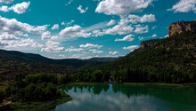 Lake And Mountains, Green Lake, Blue Sky, Cloudy Day