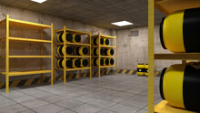 3d-illustration Of A Warehouse Storing Radioactive Barrels