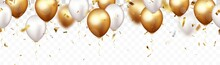 Celebration Banner With Gold Confetti And Balloons, Isolated On Transparent Backgroound