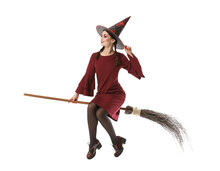 Beautiful Woman Dressed As Witch For Halloween On White Background