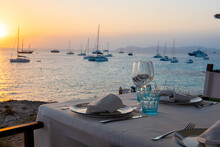 Luxurious Restaurant On The Island Of Formentera In The Summer Of 2021 With Sunset Views.