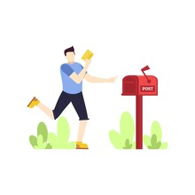 Man Is Sending A Letter Red Mail Box People Character Flat Design Vector Illustration