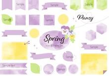 春のアイコン・フレームセット 水彩風