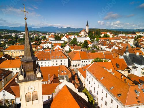 Cityscape of Novo Mesto in Slovenia at River Krka. Drone View