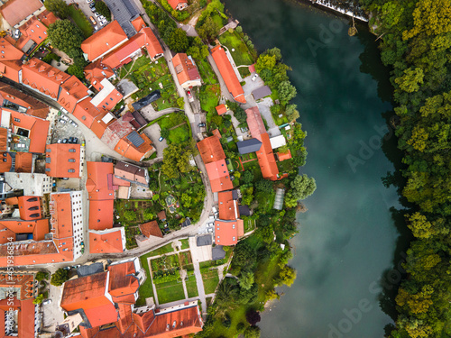 Novo Mesto Cityscape at Bend of the Krka River in Slovenia Lower Carniola Region. Aerial Drone View