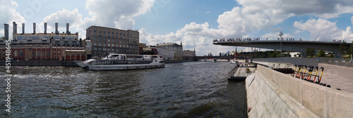 floating bridge in Zaryadye Park and the Moscow Kremlin in the distance