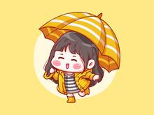 Cute And Kawaii Girl Wear Raincoat Play In The Rain Under The Umbrella Manga Chibi Illustration