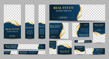 Real Estate Web Banner Design Template Set With Blue Background. Vertical, Horizontal And Square Banners With Standard Size And Place For Photos. Vector Design EPS 10