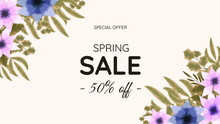Great Discount Sale Banner Design. Abstract Natural Spring Sale Background In Floral Blossom Theme With Colorful Flowers. Vector Illustration For Flyer, Poster, Web, Social Media, Apps, Promotion.