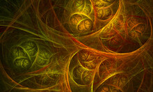 Mystical 3d Digital Illustration Of Abstract Alchemical Elements, Runes Or Wall Of Fictional Ancient Knowledge. Heat Of Bonfire In Orange, Yellow, Green. Great For Game Design, Background Or Blank.