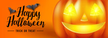 Happy Halloween Text Banner With Bats And Smiling Jack O Lantern, Vector
