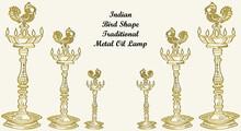 Sketch Of Traditional Metal Oil Lamp Or Nilavilakku With Top Bird Design Outline Editable Illustration