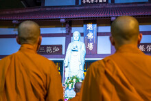 Monks Are Chanting Prayers For Peace During Annual Amitabha Buddha Ceremony Held In Evening At An Ancient Temple In Ho Chi Minh City, Vietnam