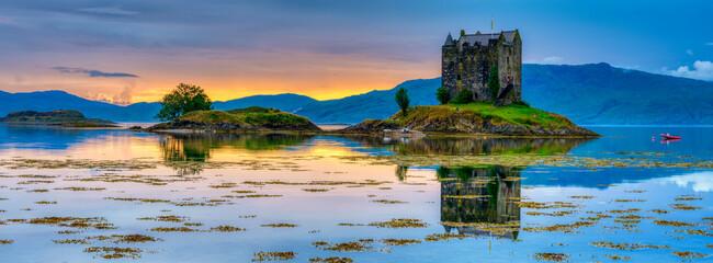 Castle Stalker on Loch Linnhe at sunset. Scotland