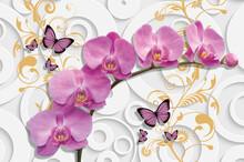 3D Illustration Of Beautiful Pink Flowers 3d Background 3D Wallpaper. Wallpaper With Butterflies