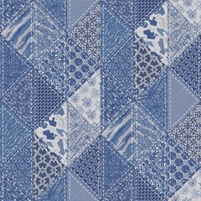 Denim Western Blue Patchwork Triangle Woven Texture. Indigo Vintage Wash Printed Cotton Textile Effect. Patched Jean Home Decor Background. Boho Bandana Quilt Stitch Allover Fabric Print Material.