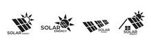 Solar Energy Logo Set. Sustainable, Renewable And Alternative Energy Symbols