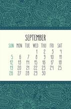 September Year 2021 Monthly Floral Calendar