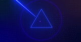 Image of rotating blue neon shapes with shooting blue and purple laser beams on dark background