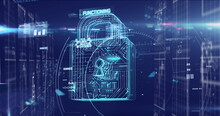 Digital Image Of Glowing Security Padlock Icon And Data Processing Against Blue Background