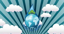 Composition Of Save The Water Text And Globe In Water Droplet Over Blue Sky And Clouds
