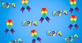 Rainbow ribbons and lgbtq text on blue background