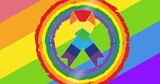 Rainbow ribbon over rainbow stripes background