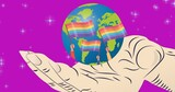 Hand holding globe with lgbtq flags over purple background