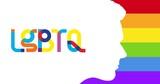 Lgbtq text over human head profile on rainbow stripes background