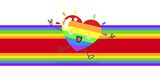 Rainbow happy heart and rainbow stripes on white background