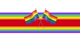 Rainbow flags and rainbow stripes on white background