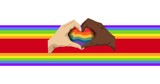 Caucasian and african american hands making heart sign over rainbow stripes on white background