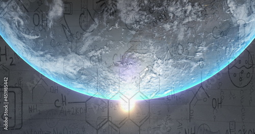 Image of chemistry data and drawings over globe and sun shining