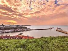 Sunset At Whitby Bay, North Yorkshire, UK.