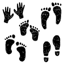 Vector Hand Drawn Foot Prints On White Background